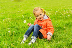 Little girl dandelion Stock Photo