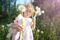Little girl with dandelions. Royalty Free Stock Photos
