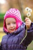 Little girl with dandelions Stock Image