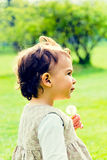 Little girl with dandelions Stock Image