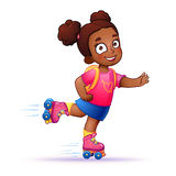 Little Girl Dark Skin Rides On Roller Skates
