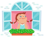 Free Little Girl Day Dreaming At The Window Stock Photography - 53984932