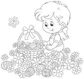 Easter egg hunt in flowers. Little girl with a decorated basket collecting painted eggs among daisies, a black and white vector illustration for a coloring book Royalty Free Stock Images