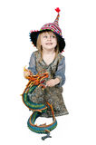 Little girl with a decorative dragon Royalty Free Stock Images