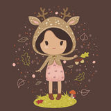 Little girl in a deer costume Stock Images