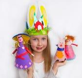 Little girl demonstrating her craft works Stock Photo