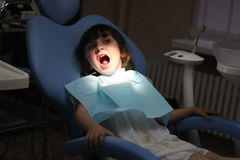 Little girl at a dentist examination Stock Images