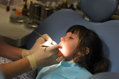 Little girl at a dentist examination Royalty Free Stock Photo