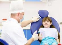 Little girl at dentist's office Stock Photo
