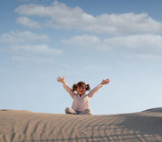 Little girl in desert Stock Photography