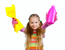 Little  girl with detergent Royalty Free Stock Image