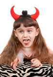 Little Girl with Devil Horns Stock Photography