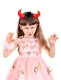 Little Girl with Devil Horns Stock Photo