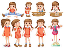 Little girl in different actions Stock Photo