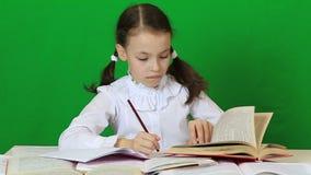 Little girl diligently doing their homework stock video