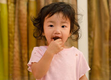 A little girl dirty with chocolate Stock Photography