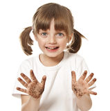 Little girl with dirty hand Royalty Free Stock Images