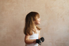 Little girl with dirty hands Royalty Free Stock Photo