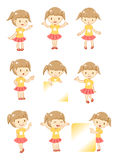 Little girl display. With 9 actions Stock Photos