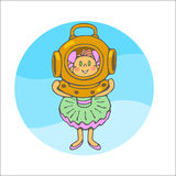 Little girl with diving helmet Stock Photos