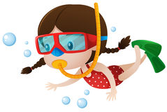 Little girl diving under the sea Royalty Free Stock Image
