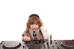 Little girl dj Stock Photo