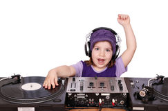 Little girl dj fun play music Stock Photo