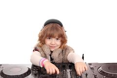 Little girl dj with turntables. Studio shot Stock Photos