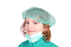 Little girl doctor in green uniform Royalty Free Stock Photo