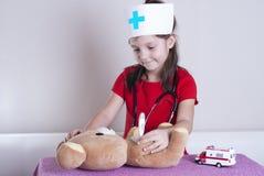 Little girl doctor stock image