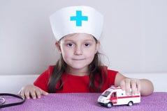 Little girl doctor stock photos