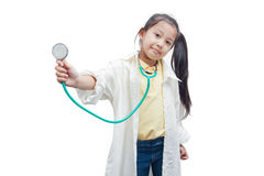 Little girl doctor with stethoscope. Stock Photo