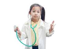 Little girl doctor with stethoscope. Royalty Free Stock Images