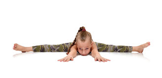 Little girl does exercise Royalty Free Stock Images