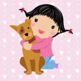 Little girl and dog. Illustration art Royalty Free Stock Image