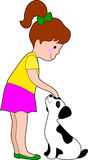 Little Girl and Dog. A little girl patting a young dalmation pup Stock Photo
