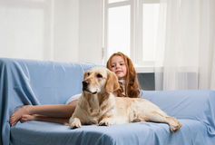 Little girl and dog Stock Photo