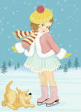 Little girl with dog. Little girl skating and playing with her dog. Vector illustration vector illustration