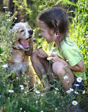Little girl and dog 3 Royalty Free Stock Images