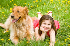 Little Girl and Dog royalty free stock images