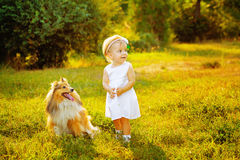 Little girl and dog Stock Photography