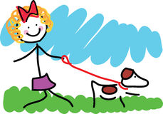Little Girl and Dog Drawing Royalty Free Stock Image