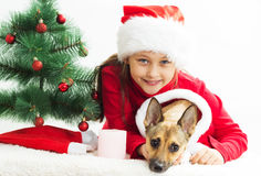 little girl with a dog dressed in Christmas costumes Stock Image