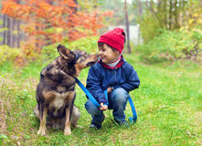 Little girl with dog in the forest Stock Photo
