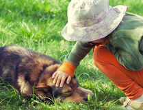 Little girl with dog Royalty Free Stock Photo
