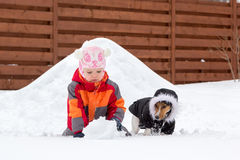 Little girl and dog playing with snow Royalty Free Stock Photography