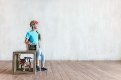 Little girl with a dog stock photography