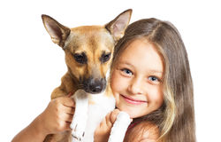 Little girl and doggy Royalty Free Stock Photo