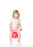 Little girl doing exercises with a ball Royalty Free Stock Images