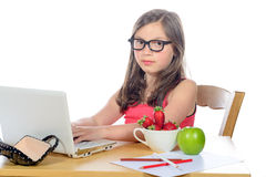 A little girl doing her homework on her computer Stock Photography